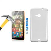 Kit Película de Vidro Temperado + Capa de TPU para Nokia Lumia 535 - Cor Transparente