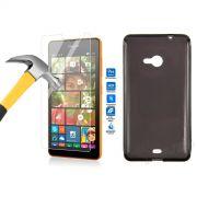 Kit Película de Vidro Temperado + Capa de TPU para Nokia Lumia 535 - Cor Grafite