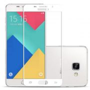 Película de vidro Curvada Fibra de Carbono à Prova Impacto para Samsung Galaxy A7 2016 - Bordas Branca