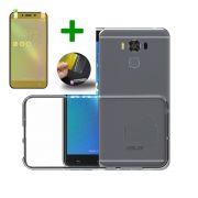 Kit Capa de Silicone + Película Anti-Shock para Asus Zenfone 3 Max ZC553KL 5.5