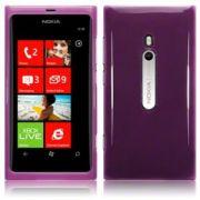 Capa TPU Premium + Película protetora para Nokia Lumia 800 - Cor lilás