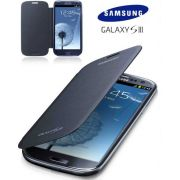 Capa em couro flip para Samsung Galaxy  S III GT-I9300 - EFC-1G6FBE  - Cor Azul Cromado