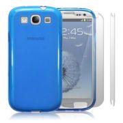 FlexiShield Plus - Capa de TPU Premium + Película Protetora para Samsung Galaxy S III S3 i9300 - Cor Azul