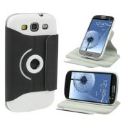 Capa  flip com suporte 360º Rotating Stand para Samsung Galaxy  S III S3 i9300 - Cor Preta