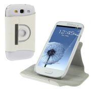 Capa flip com suporte 360º Rotating Stand para Samsung Galaxy S III S3 i9300 - Cor  Branca
