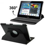 Capa em couro para Samsung Galaxy Tab 2 10.1 P5110 /P5100 com suporte 360º Rotating Stand Case   - Cor Preta