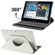 Capa em couro para Samsung Galaxy Tab 2 10.1 P5110 /P5100 com suporte 360º Rotating Stand Case - Cor Branca