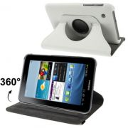 Capa em couro com suporte 360º para Samsung Galaxy Tab 2 7.0 P3100 / P3110 - Cor Branca