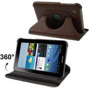 Capa em couro com suporte 360º para Samsung Galaxy Tab 2 7.0 P3100 / P3110 - Cor Marron