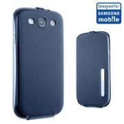 Capa Flip Vertical para Galaxy SIII  I9300 - Cor Azul Cromo / Original Samsung