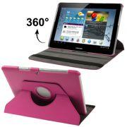 Capa em couro para Samsung Galaxy Tab 2 10.1 P5110 /P5100 com suporte 360º Rotating Stand Case - Cor Rosa
