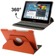 Capa em couro para Samsung Galaxy Tab 2 10.1 P5110 /P5100 com suporte 360º Rotating Stand Case - Cor Laranja