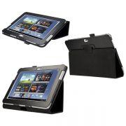 Capa couro Smart Cover para Samsung Galaxy Note 10.1 N8000 / N8100 - Cor Preta