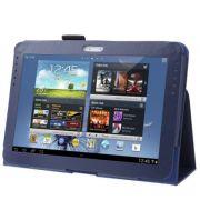 Capa couro Smart Cover para Samsung Galaxy Note 10.1 N8000 / N8100 - Cor Azul escuro