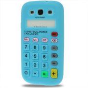 Capa Personalizada Retro Calculadora para Samsung Galaxy S3 S III i9300 - Azul Claro