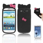 Capa Personalizada Hello Kitty para Samsung Galaxy S3 S III i9300 - Preto