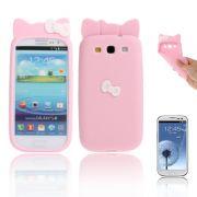 Capa Personalizada Hello Kitty para Samsung Galaxy S3 S III i9300 - Rosa