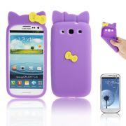 Capa Personalizada Hello Kitty para Samsung Galaxy S3 S III i9300 - Roxo