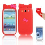 Capa Personalizada Hello Kitty para Samsung Galaxy S3 S III i9300 - Vermelho