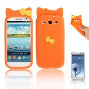 Capa Personalizada Hello Kitty para Samsung Galaxy S3 S III i9300 - Laranja