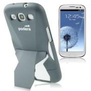 Capa Protetora com Suporte para Samsung Galaxy S3 S III i9300 - Cinza