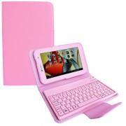Capa em Couro com Teclado sem fio Bluetooth para Samsung Galaxy Tab 2 7.0 P3100 / P3110 - Rosa