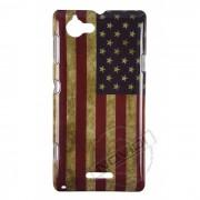 Capa Personalizada Bandeira Americana Envelhecida para Sony Xperia L