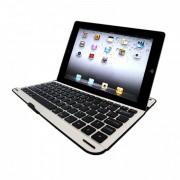 Capa portátil com teclado em alumínio Bluetooth para Samsung Galaxy Note 10.1 N8000/N8100 - Cor Preto/Prata