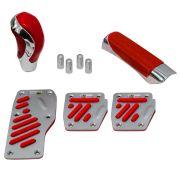 Kit Chrome Universal Pedaleira Manopla Câmbio e Freio de Mão Cromado com Vermelho