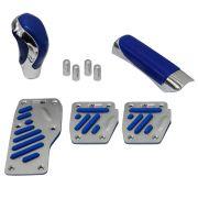 Kit Chrome Universal Pedaleira Manopla Câmbio e Freio de Mão Cromado com Azul