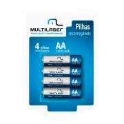 Pilha Recarregavel Multilaser AA 2500mAh 1.2V 4 unidades
