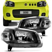 Farol Principal Fiat Novo Uno 2010 em Diante Lado Direito Máscara Negra