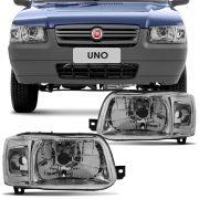 Farol Principal Fiat Uno Mille Smart 2003 em Diante Lado Esquerdo Máscara Metalizada