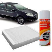 Filtro do Ar Condicionado Cabine Fiat Linea 1.9 1.4 16V 2008 em diante Punto 1.4 8V 1.8 16V 2007 em diante Flex + Higienizador