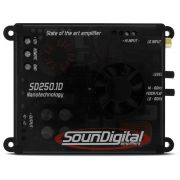 Módulo amplificador SounDigital SD250.1D Mini (1x250W RMS 1ohm) + Brinde 1 Cabo RCA de 5m