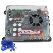 Módulo amplificador Soundigital SD600.1D Mini 1x 600w rms 1ohm + Brinde 1 Cabo RCA de 5m