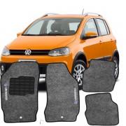 Tapete Automotivo Personalizado Carpete Crossfox 04 até o ano 09 Grafite Jogo 4 peças