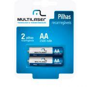 Pilha Recarregável AA 2500mAH 1.2V Multilaser CB053 Par
