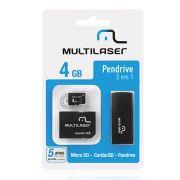 Kit Multilaser Pen Drive 3 em 1 Multilaser Micro SD 4 GB Adaptador e Leitor de Catão Mc057
