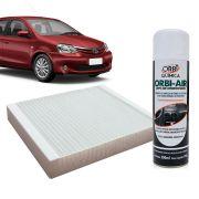 Filtro do Ar Condicionado Cabine Toyota Etios todos + Higienizador