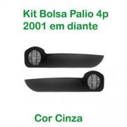 Kit Bolsa de Porta - Palio 4p 2001 em diante - Cor Cinza(c/kit fixação)