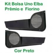 Kit Bolsa de Porta ? Uno 1984 até 2010/Premio/Elba 1985 até 1996/ Fiorino 1987 até 2010 ? Cor Preto  (c/kit fixação)