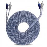 Cabo RCA Injetado Simples 4 Machos 4mm 5m Transparente Azul Borracha