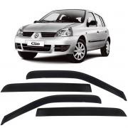 Calha de Chuva Acrílica Adesiva Renault Clio Fase 2 2000 a 2009 4 Portas