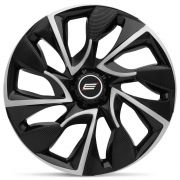 Calota Esportiva DS4 Aro 14 Black Silver Encaixe Universal