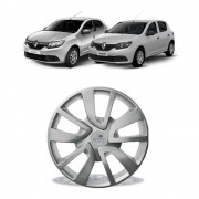 Calota Grid Aro 15 Prata Renault Logan Sandero 2014 a 2018 Encaixe