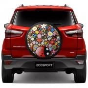 Capa para Estepe Joaninha Ecosport CrossFox 2005 a 2017 AirCross 2011 a 2017 Spin Activ 2015 a 2017 Com Cadeado