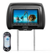 Encosto de Cabeça Htech Tela 7 Dvd Usb Sd Com Controle Multifuncional e Ziper Grafite