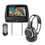 Encosto de Cabeça Kx3 Tela LCD 7 Dvd Usb Sd Com Controle Joystick + Fone de Ouvido sem Fio Wirelles com Infravermelho