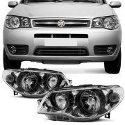 Farol Principal Arteb Fiat Palio Siena 2005 a 2007 Strada 2005 a 2008 Lado Direito Mascara Metalizada